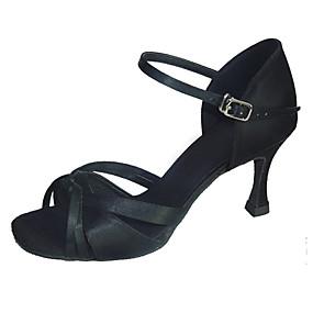 preiswerte Tanzschuhe-Damen Tanzschuhe Satin Schuhe für den lateinamerikanischen Tanz Absätze Keilabsatz Schwarz / Purpur / Knackmandel