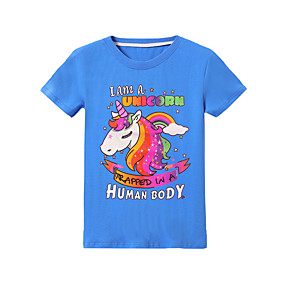 ราคาถูก จัดส่งฟรี-เด็ก เด็กผู้หญิง พื้นฐาน Unicorn ลายพิมพ์ แขนสั้น เสื้อยืด สีดำ