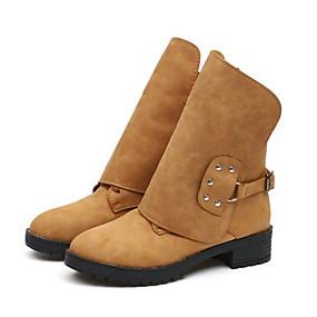 billige Mote Boots-Dame Støvler Lav hæl Rund Tå PU Støvletter Sommer Svart / Gul / Rød