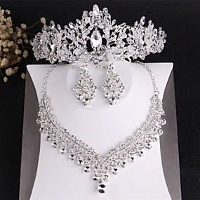 cheap Wedding & Party Jewelry-Women's Clear Crystal Bridal Jewelry Sets Classic Crown Luxury Fashion Rhinestone Earrings Jewelry Silver For Wedding Party Engagement 1 set / Hair Jewelry
