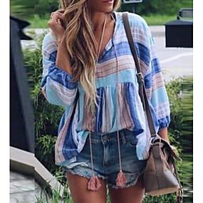 preiswerte Damenbekleidung-Damen Gestreift Übergrössen T-shirt, V-Ausschnitt Lose Leicht Blau