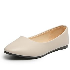 voordelige Damesschoenen met platte hak-Dames Platte schoenen Platte hak Ronde Teen PU Herfst winter Zwart / Wit / Roze