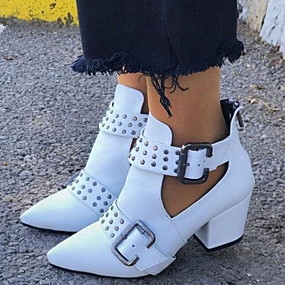 cheap Shoes & Bags-Women's Boots Chunky Heel Pointed Toe PU Booties / Ankle Boots Summer Black / White / Red