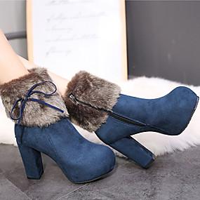 billige Mote Boots-Dame Støvler Tykk hæl Rund Tå Fjær / Dusk Semsket lær / Lakklær Vintage / minimalisme Vår & Vinter / Høst vinter Svart / Kamel / Blå