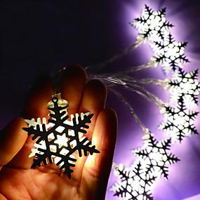 preiswerte Dekorative Beleuchtung-1,5 mt lichterketten 10 leds eisen schneeflocke / led weihnachten geburtstagsfeier lichter / warmweiß / rgb / weiß kreative / party / dekorative aa batterien betrieben 1 satz