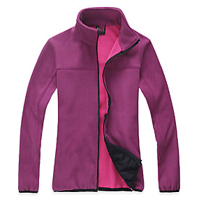 cheap Camping, Hiking & Backpacking-Women's Hiking Fleece Jacket Autumn / Fall Winter Outdoor Solid Color Windproof Fleece Lining Warm Soft Winter Fleece Jacket Top Camping / Hiking / Caving Traveling Winter Sports Violet Fuchsia Pink