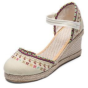voordelige Damesschoenen met platte hak-Dames Platte schoenen Sleehak Ronde Teen Netstof Lente Zwart / Beige
