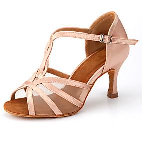 ราคาถูก Dance Shoes-สำหรับผู้หญิง รองเท้าเต้นรำ ซาติน ลาติน ดอกไม้ผ้าซาติน / หัวเข็มขัด ส้น ส้นป้าน ตัดเฉพาะได้ สีดำ / Almond