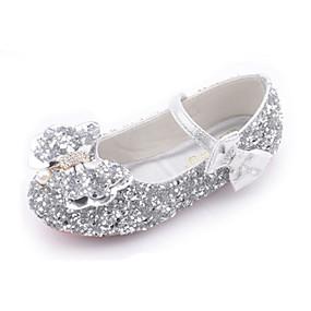 preiswerte Schuhe für Kinder-Mädchen Neuheit / Schuhe für das Blumenmädchen PU Flache Schuhe Kleine Kinder (4-7 Jahre) Walking Schleife Purpur / Silber / Rosa Herbst / Winter / Gummi