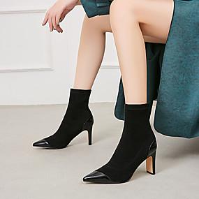 preiswerte Fashion Stiefel-Damen Stiefel Block Ferse Spitze Zehe Wildleder / Lackleder Winter Schwarz