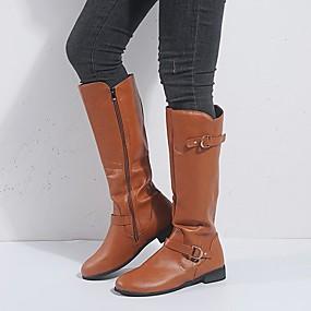 billige Mote Boots-Dame Støvler Lav hæl Rund Tå Spenne PU Støvletter Vintage / minimalisme Vår & Vinter / Høst vinter Brun