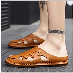 cheap Men's Clogs & Mules-Men's Comfort Shoes PU Summer Clogs & Mules Breathable Black / Brown / White