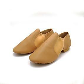 ราคาถูก Dance Shoes-สำหรับผู้หญิง รองเท้าเต้นรำ หนังสัตว์ แจส Splicing ส้นเรียบ ส้นแบน สีดำ / สีน้ำตาล