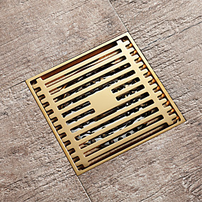 cheap Drains-Champagne gold drain brass 4inch floor mounted 10x10cm bathroom waste gate
