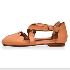 voordelige Damesschoenen met platte hak-Dames Platte schoenen Lage hak Ronde Teen PU Zomer Oranje