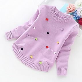 preiswerte Baby & Kinder-Kinder Mädchen Grundlegend Solide Langarm Pullover & Cardigan Purpur