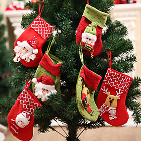 cheap Christmas Decorations-Santa Stocking Sock Candy Bags Christmas Tree Ornamets Pendants  Gift Bag For Children Fireplace Hanging Decor Party Supply-6Pcs