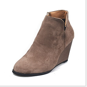 billige Mote Boots-Dame Støvler Trykk sko Kile Hæl Rund Tå PU Ankelstøvler Høst vinter Svart / Leopard / Gul