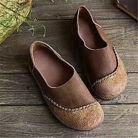 voordelige Damesschoenen met platte hak-Dames Platte schoenen Platte hak Ronde Teen Kanten stiksel Imitatieleer Vintage Wandelen Herfst Zwart / Koffie / Khaki