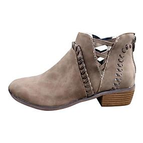billige Mote Boots-Dame Støvler Blokker hælen Spisstå PU Ankelstøvler Høst vinter Svart / Kakifarget