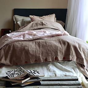 preiswerte Feste Duvet Covers-Bettbezug-Sets Solide Leinen / Baumwolle Applikation 3 StückBedding Sets