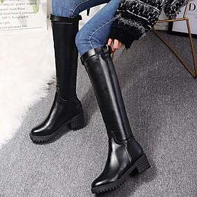 billige Mote Boots-Dame Støvler Knehøye Støvler Flat hæl Rund Tå PU Knehøye støvler Vinter Svart