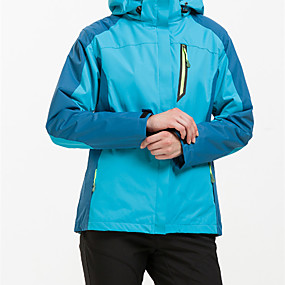 cheap Camping, Hiking & Backpacking-Women's Hiking Jacket Hiking 3-in-1 Jackets Autumn / Fall Winter Outdoor Patchwork Waterproof Windproof Fleece Lining Warm Jacket Top Hunting Ski / Snowboard Fishing Violet Red Fuchsia / Breathable