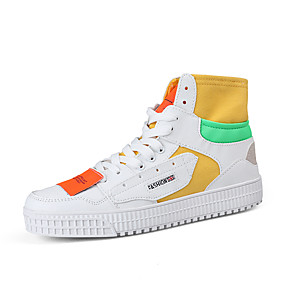 voordelige Damessneakers-Dames Sneakers Platte hak Ronde Teen Canvas / Microvezel Informeel Lente & Herfst Zwart / ホワイトとグリーン / Wit  / Geel / leuze