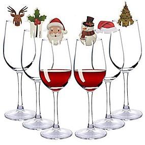 preiswerte Gläser &Tassen-Zufällige Farbe der 30pcs / set Weihnachtsglaszeichenmarkierungsfahnenweihnachtshutzahnstochermarkierungsfahne