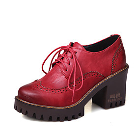 voordelige Dames Oxfords-Dames Oxfords Blokhak Ronde Teen PU Vintage / Brits Herfst winter Zwart / Bruin / Rood