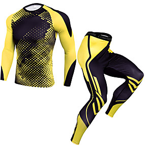 cheap Men's Activewear-JACK CORDEE Men's 2 Piece Activewear Set Workout Outfits Compression Suit Athletic Winter Quick Dry Fitness Gym Workout Basketball Running Sportswear Camo Black / Red White Black Yellow Burgundy Blue