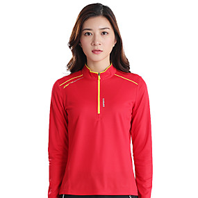 cheap Camping, Hiking & Backpacking-Wolfcavalry® Women's Hiking Tee shirt Long Sleeve Crew Neck Tee Tshirt Top Outdoor Quick Dry Breathable Sweat wicking Comfortable Autumn / Fall Spring Summer POLY Red Blue Orange Hunting Fishing