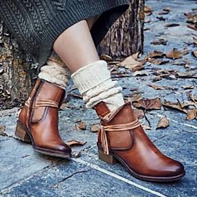 billige Mote Boots-Dame Støvler Blokker hælen Rund Tå Gummi / PU Høst vinter Brun