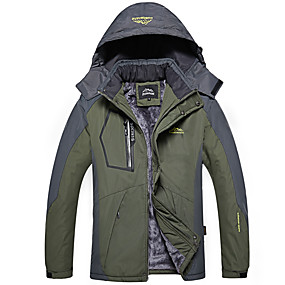 cheap Camping, Hiking & Backpacking-Men's Hiking Jacket Ski Jacket Autumn / Fall Winter Outdoor Solid Color Waterproof Windproof Warm Front Zipper Winter Jacket Single Slider Hunting Ski / Snowboard Fishing Black Red Army Green
