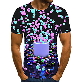 preiswerte Herrenmode-Herrn Punkt / Geometrisch / 3D - Street Schick T-shirt Gefaltet / Druck Regenbogen