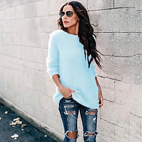 preiswerte Damen Oberteile-Damen Solide Langarm Pullover Pullover Jumper, Rundhalsausschnitt Rosa / Blau / Grau S / M / L
