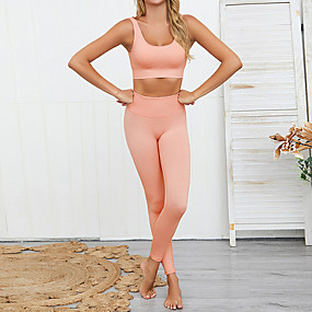 cheap Women's Activewear-Women's Open Back Yoga Suit Solid Color Yoga Fitness Gym Workout Leggings Bra Top Clothing Suit Sleeveless Activewear Breathable Moisture Wicking Quick Dry High Elasticity Slim