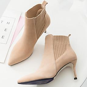 billige Mote Boots-Dame Støvler Stiletthæl Spisstå Semsket lær Ankelstøvler Vintage / minimalisme Vår & Vinter / Høst vinter Svart / Mandel
