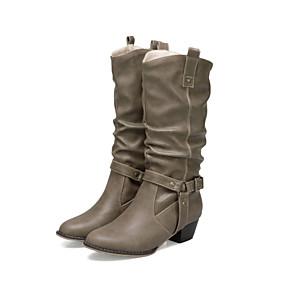 billige Mote Boots-Dame Støvler Tykk hæl Rund Tå Spenne PU Ankelstøvler Fritid / minimalisme Vår sommer / Høst vinter Svart / Brun / Kakifarget
