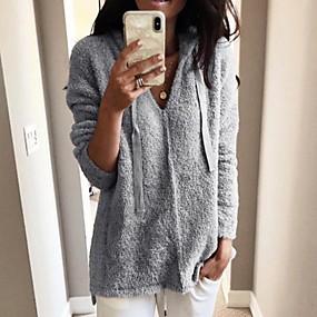preiswerte Damenbekleidung-Damen Solide Langarm Pullover Pullover Jumper, V-Ausschnitt Schwarz / Weiß / Rosa S / M / L
