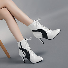 cheap Fashion Boots-Women's Boots Stiletto Heel Pointed Toe PU Booties / Ankle Boots Vintage / Minimalism Spring &  Fall / Fall & Winter Black / White / Color Block