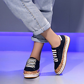 voordelige Damessneakers-Dames Sneakers Platte hak Ronde Teen PU Vintage / minimalisme Lente & Herfst / Herfst winter Zwart / Groen / Rood / Kleurenblok