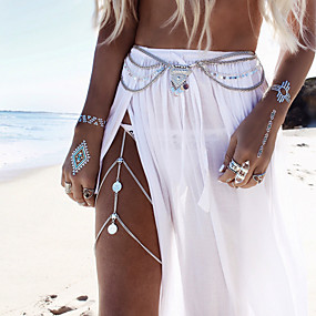 cheap Holiday-Body Chain Leg Chain Ladies Boho Bohemian Women's Body Jewelry For Casual Sports Tassel Fringe Alloy Gold Silver Golden Turquoise Leg Chain