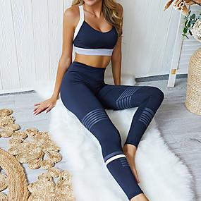 cheap Women's Activewear-Women's 2pcs Yoga Suit Patchwork Color Block Dark Blue Yoga Fitness Gym Workout High Waist Leggings Bra Top Clothing Suit Sleeveless Sport Activewear Butt Lift Breathable Quick Dry Moisture Wicking