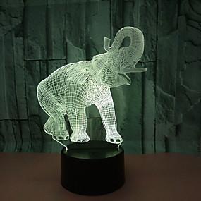 cheap 3D Night Lights-Birthday Gift Night Light Elephant Ivory 3D LED Night Light Novelty LED Animal Light 7 Color LED Touch Table Lamp