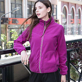 cheap Camping, Hiking & Backpacking-Women's Hiking Fleece Jacket Autumn / Fall Winter Outdoor Solid Color Windproof Fleece Lining Warm Soft Winter Fleece Jacket Top Camping / Hiking / Caving Traveling Winter Sports Violet Yellow Navy