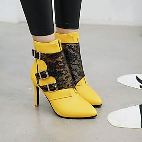 billige Mote Boots-Dame Støvler Stiletthæl Spisstå Spenne PU Ankelstøvler Forretning / Søt Gange Høst vinter Svart / Hvit / Gul / Fargeblokk