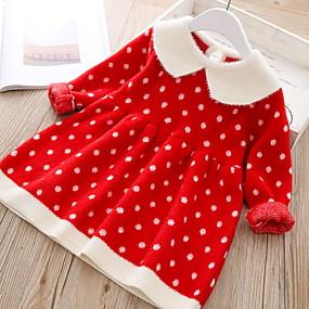 preiswerte Baby & Kinder-Baby Mädchen Aktiv Punkt / Weihnachten Langarm Baumwolle Kleid Rosa