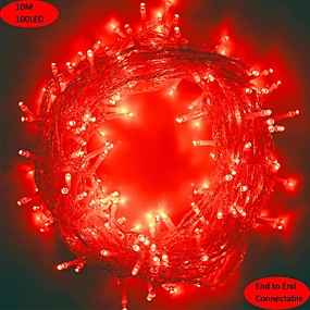 cheap Light Strips & Strings-10m 33ft 100 LED String Lights Red Indoor Outdoor Christmas Tree Wedding Party Bedroom Wall Halloween Decoration