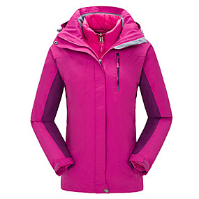 cheap Camping, Hiking & Backpacking-Cikrilan Women's Hiking Jacket Autumn / Fall Winter Outdoor Patchwork Waterproof Windproof Warm Comfortable Top Camping / Hiking / Caving Traveling Winter Sports Red Fuchsia Sky Blue